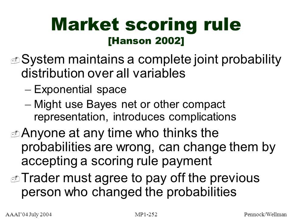 Market scoring rule [Hanson 2002]